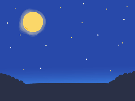Full moon, night sky and forest