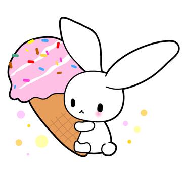아이스크림과 토끼의 일러스트