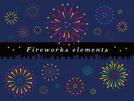 Colorful pop fireworks illustration set