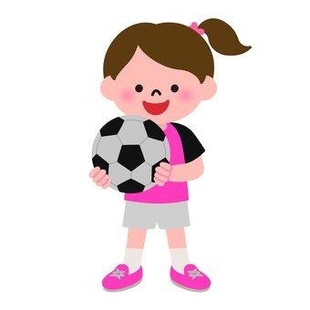 축구 공을 가진 소녀