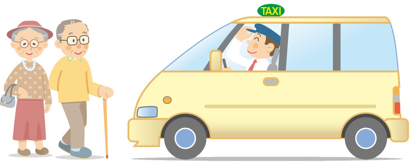 An elderly person and a taxi illustration