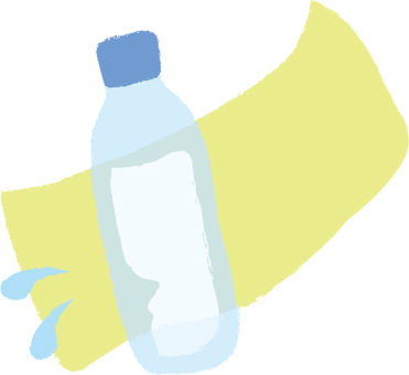 PET bottle water and towel