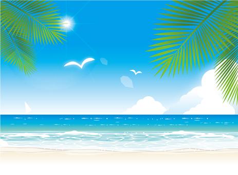 한여름의 바다와 하늘과 태양
