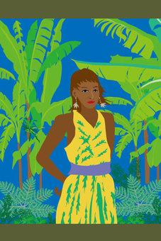 Tropical yellow dress girl