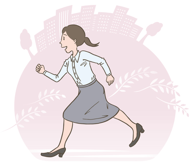 Illustration of running woman Re-employment woman