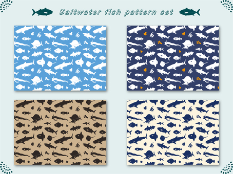 Saltwater fish silhouette pattern