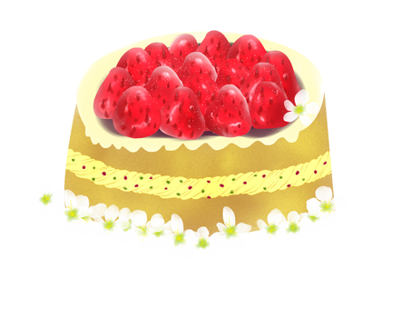 With strawberry cake decorations