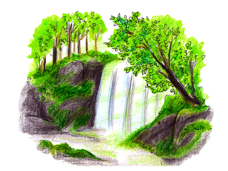 Illustration of waterfall