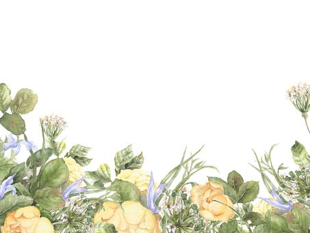 花框架93  - 玫瑰和天藍色花的花框架