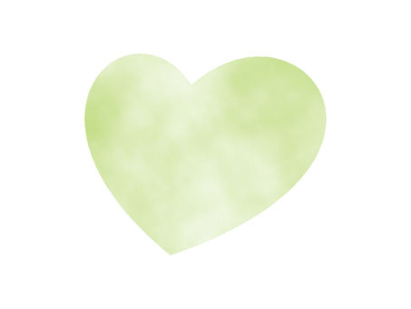 Yellow-green heart (Watercolor hand-drawn style)