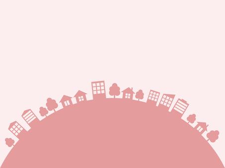 도시 거리 실루엣 핑크