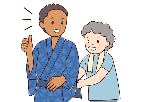 Black men wearing yukata
