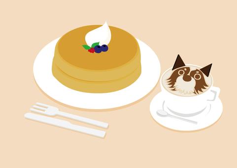 Latte art and pancakes
