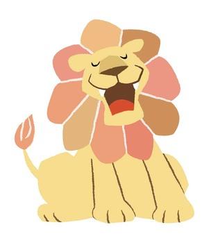 하품하는 사자