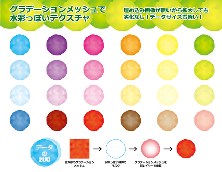 Colorful watercolor gradation mesh material