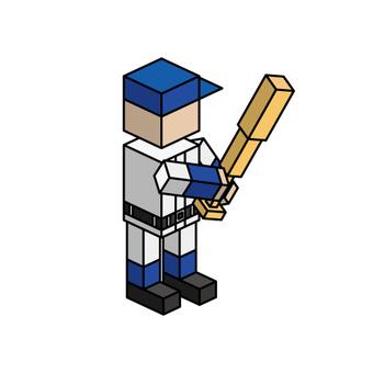 Isometric boy (batter)