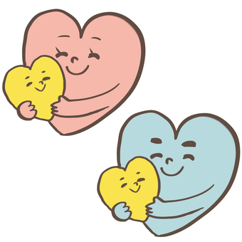 Heart-shaped parent and child