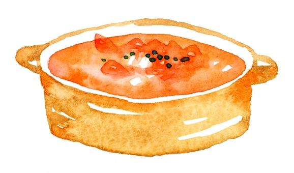 Tomato soup watercolor tomato stew