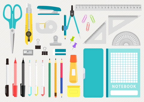Illustration set of various stationery