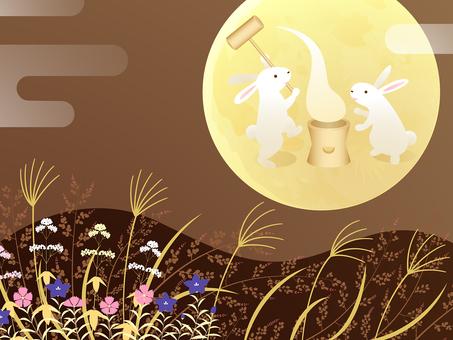 Background of autumn seven herbs, moon view, rabbit mochi