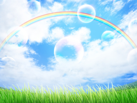 Lawn blue sky rainbow Soap bubble background wallpaper frame