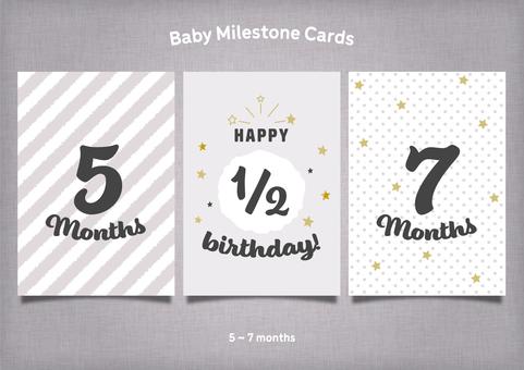 モノトーン&金色の月齢カード5~7か月
