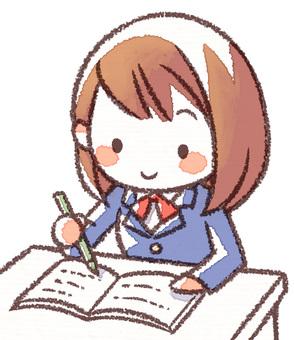 School girls studying