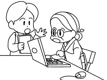 Computer classroom female (line drawing)