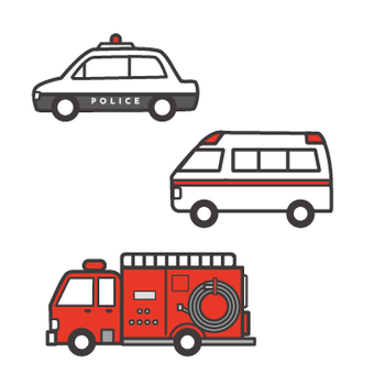 Police car, ambulance and fire truck