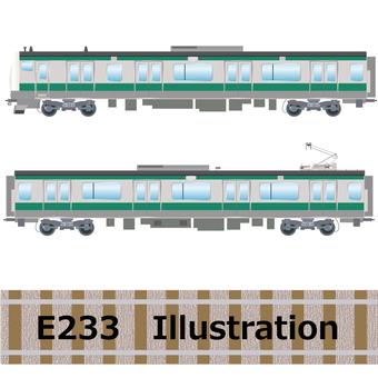 Commuter train E233 series Joban line illustration