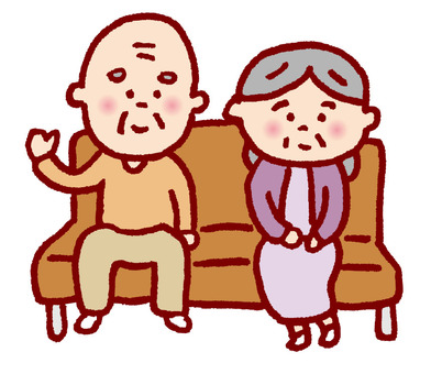 Grandparents sitting on the sofa