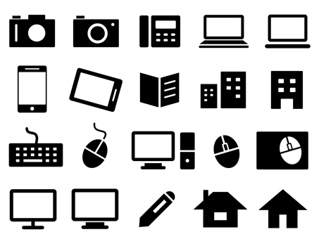 Business icons (PC, camera, phone, etc.)