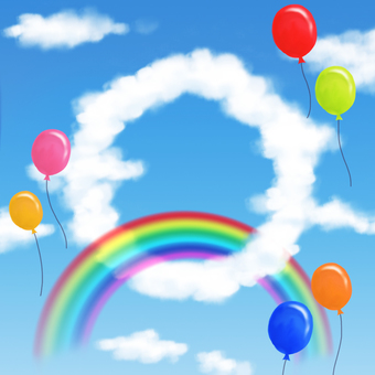 Rainbow and balloons and clouds