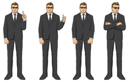 Black clothes man · boss, vector story
