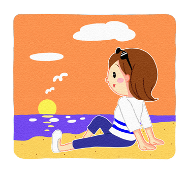 Seaside woman sunset