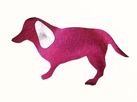 犬 カラーシルエット ピンク×グレー