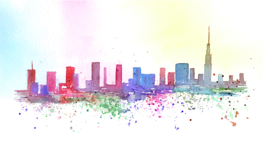 水彩アートの街