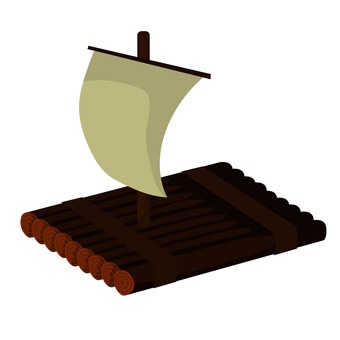 Illustration of uninhabited island Raft 1