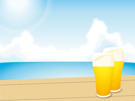 Blue sky and the sea and beer 01