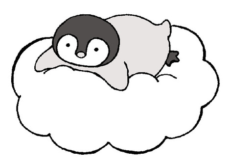 Penguin chicks on clouds