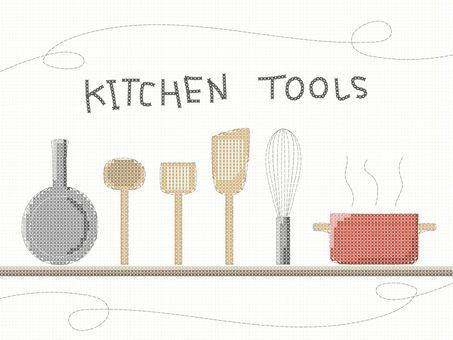 十字绣风格的厨房工具