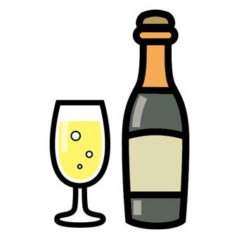 香檳酒清酒圖標玻璃