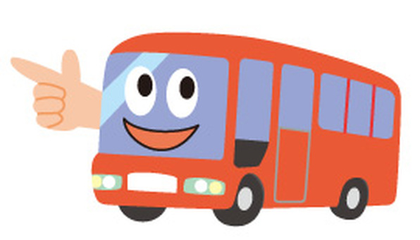 A red bus with a face