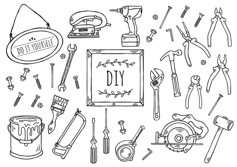 Hand-drawn illustration: DIY