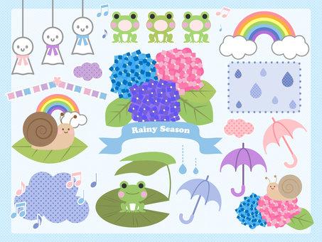 梅雨と雨の日の素材セット