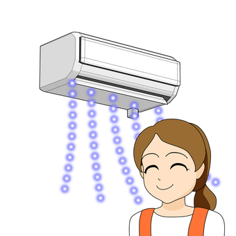 After replacing the air conditioner · relieved housewife · air conditioning