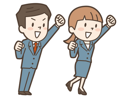 Business company employee Guts pose male and female