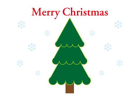 Green Christmas tree and snowflake 3