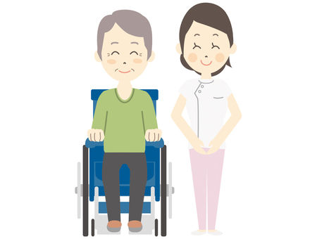 Caregiver and wheelchair