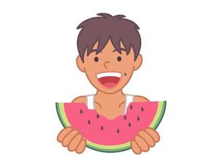 一個吃西瓜的男孩